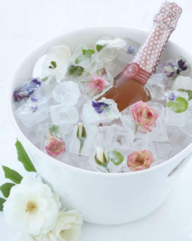 Gelo com sabor flores